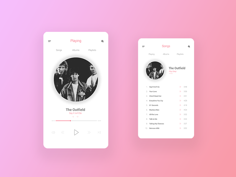 Music App Concept player ui app music