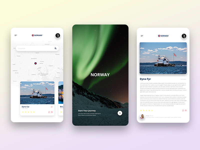 Discover Norway - Concept App booking travel concept ui app