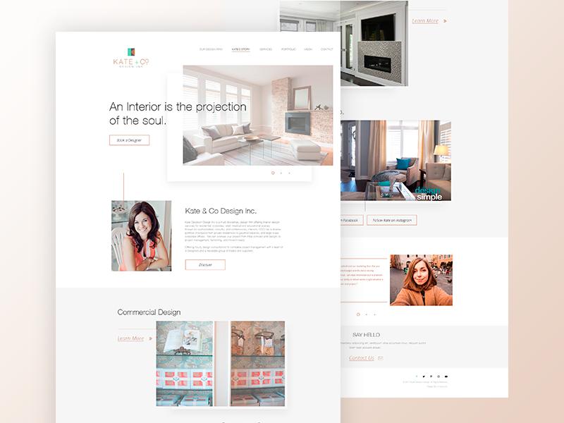 Kate + Co Design Inc. homepage elengant clean design web interior interiordesign webapp ui webui
