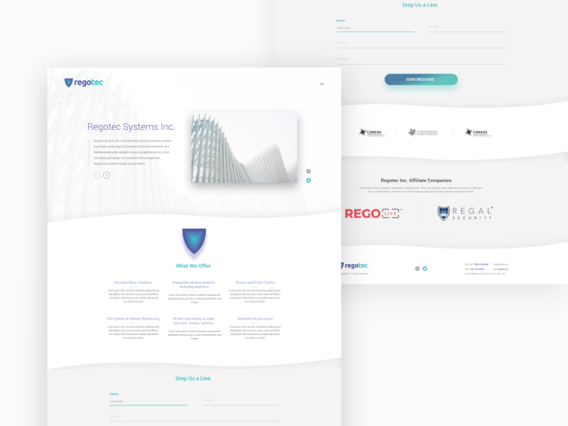 Regotec Systems Inc. webdesign web white clean design ux onepage landing ui