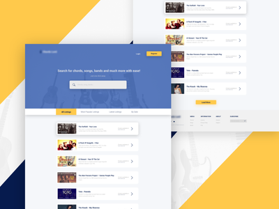 Chord Search music chrods ux website webdesign clean web ui searchpage