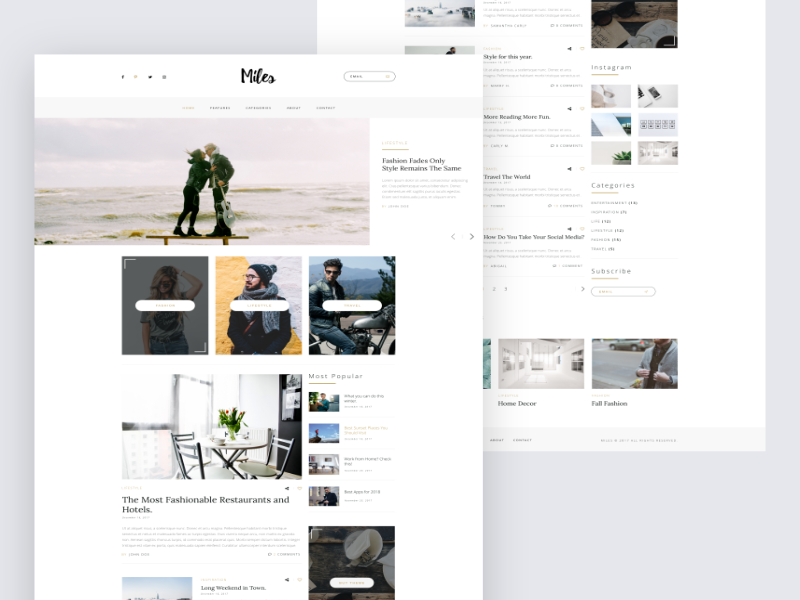 Miles Blog Theme articles news white modern clean ux minimal ui theme blog
