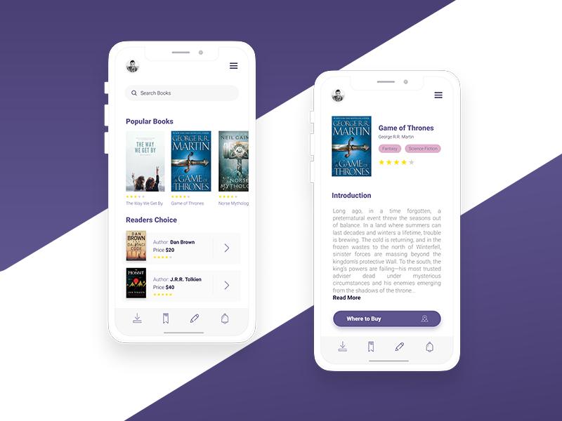 Book Store App bookapp bookstore book clean app ui ux