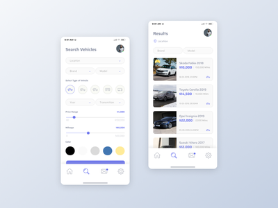 Used Cars Search App vehicles minimal design app ux ui clean