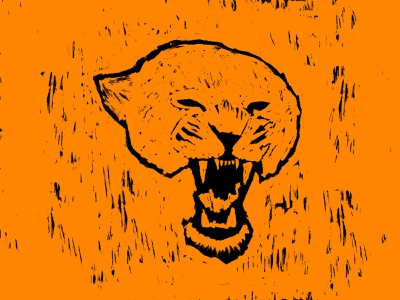 Panther print panther wood engraving texture illustration