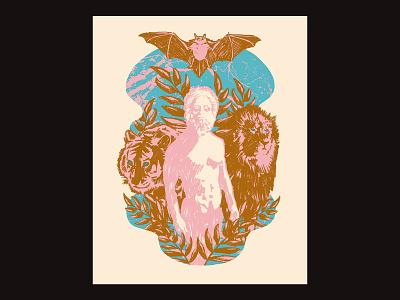 Portal Gods - Poster series 01 silkscreen print gigposter poster animals gods textured illustration illustration