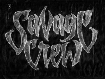 Savage Crew trash sketch pencil type typography lettering