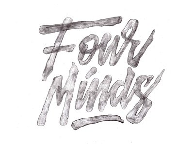 Four Minds - Pencil Sketch logo streetwear logo apparel logo sketch pencil organic lettering illustrated letters typography lettering