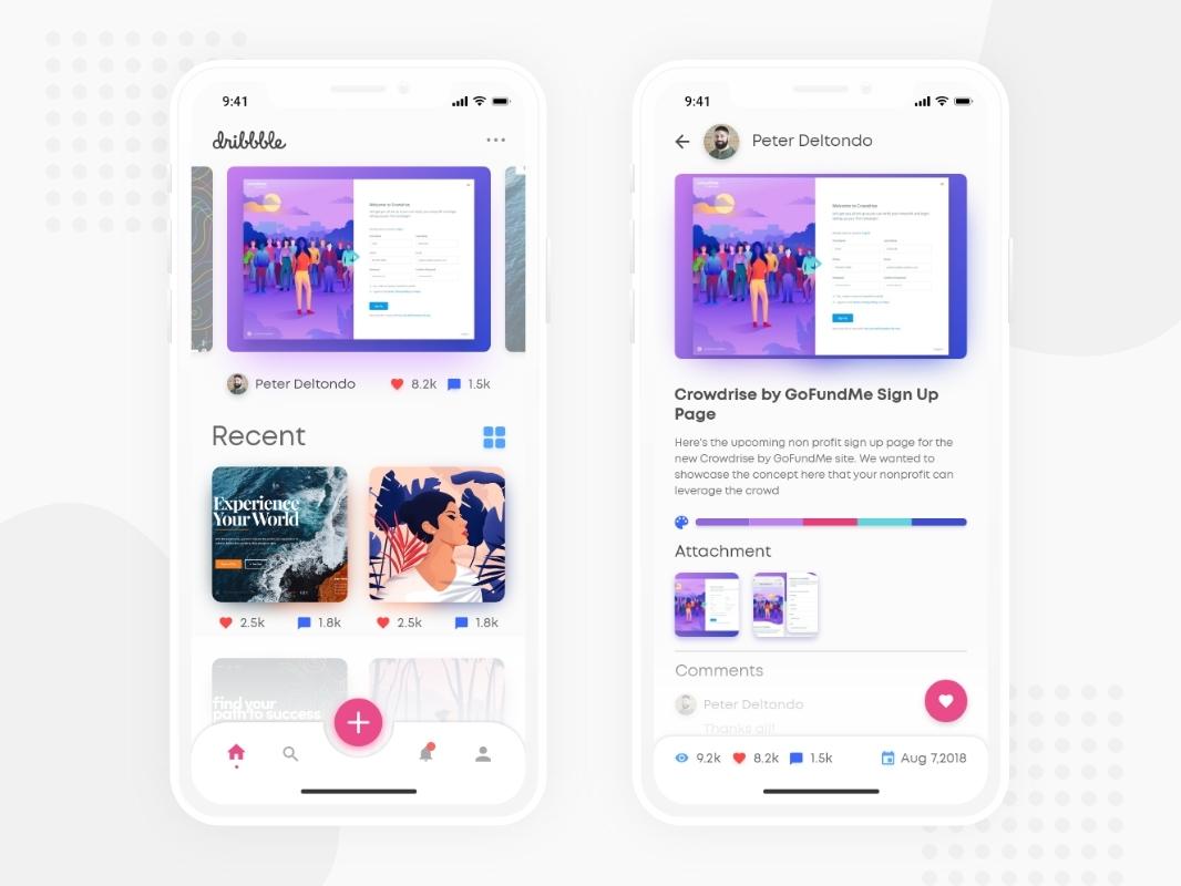 Dribbble App Redesign Concept, Debut Shot dribbble app concept re design dribbble app