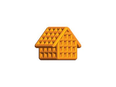 Waffle Shack Logo waffle belgian belgium breakfast place abode estate chalet lodging cabin villa home house 3d vector logomark logo