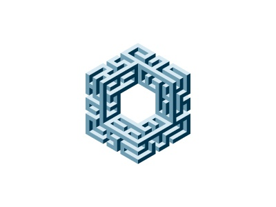 Labyrinth Logo hexagon maze labyrinth cube mathematical geometric vector 3d mark logo