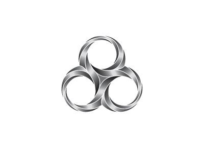 Argentum Logo trinity celtic triskelion triskele spiral triple symmetrical silver mark geometric 3d vector logomark logo