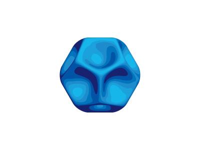 Eutexia Logo alien shaded matte concave blue soft design mathematical geometric vector 3d mark logo