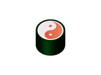 Yin and Yang Sushi Logo restaurant rice salmon sushi yin-yang yin yang vector design mark logomark logo