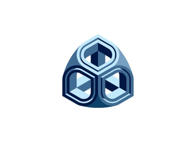 Hierogram Logo rounded cube symmetrical blue mathematical geometric 3d vector logomark mark logo