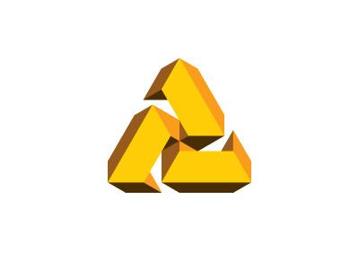 Ternary Logo triskelion triskele gold yellow symmetrical mathematical geometric 3d vector logomark mark logo