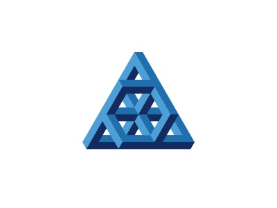 Triagon Logo cube symmetrical isometric triangle blue mathematical geometric 3d vector logomark mark logo