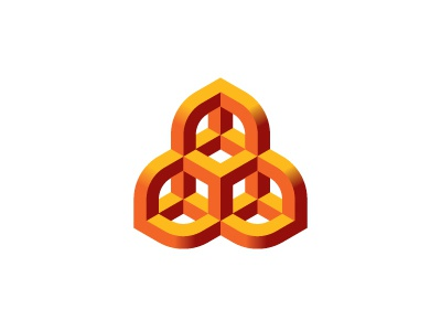 Xylology Logo cube rounded symmetrical mathematical geometric 3d vector logomark mark logo