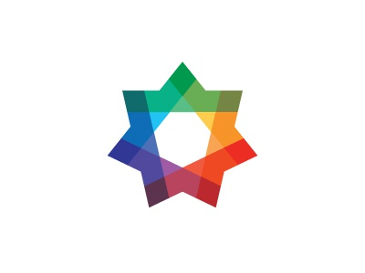 Ubique Logo colorful intersect symmetrical star spectral mathematical geometric vector logomark mark logo