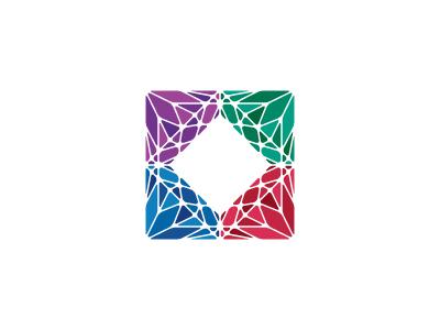 Gemology Logo diamond square triangle polygon jewellery crystal jewelry rhinestone gemstone gem ruby sapphire emerald amethyst geometric vector logomark mark logo