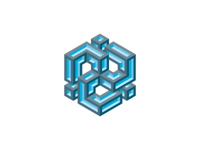 Triune Logo hexagon cube triskelion triskele gray blue symmetrical mathematical geometric 3d vector logomark mark logo