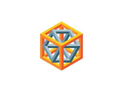 Holograph Logo nesting cuboid cubic prism tesseract hypercube hexagon cube mathematical geometric 3d vector logomark mark logo