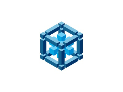 Ogdoad Logo blue and white blue modern cube symmetrical mathematical geometric 3d vector logomark mark logo