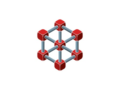 Prismane Logo illusion impossible network dice atom molecule hexagon science symmetrical mathematical geometric 3d vector logomark mark logo