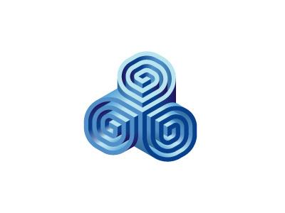 Triskelia Logo illusion impossible object triskele triskelion spiral 3d symmetrical mathematical geometric vector logomark mark logo