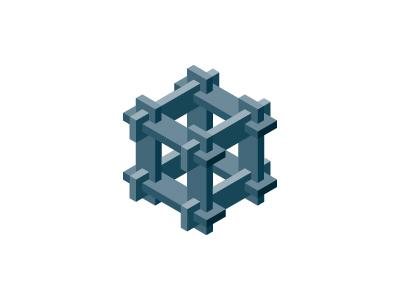 Interlocking Logo solid network grey gray puzzle cube symmetrical 3d geometric vector logomark mark logo