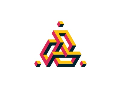 Eviternity Logo knot isometric torus triangle cube symmetrical mathematical 3d geometric vector logomark mark logo