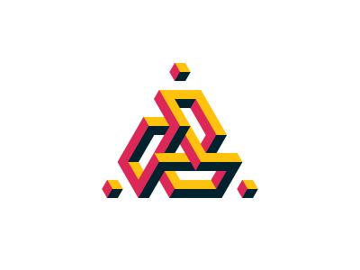 Eviternity Logo knot isometric torus triangle cube symmetrical mathematical 3d geometric vector logomark mark logo