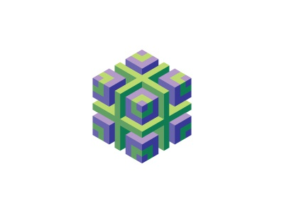 Foraneous Logo cross isometric pattern cube symmetrical mathematical 3d geometric vector logomark mark logo