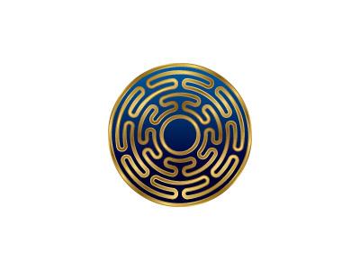 Helius Logo labyrinth maze intricate metallic golden gold sun circle symmetrical mathematical geometric vector logomark mark logo