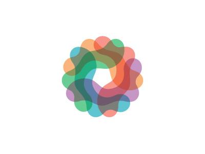 Amoeboid Logo interconnected amoeba colorful pentagon abstract wreath circle wave blob organic symmetrical logomark mark logo