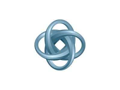 Interludicle Logo shiny blue metallic glossy celtic knot torus mathematical geometric symmetrical 3d vector logomark mark logo