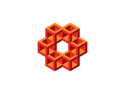 Prismatic Logo linked connected honeycomb hexagon cube mathematical symmetrical 3d geometric vector logomark mark logo