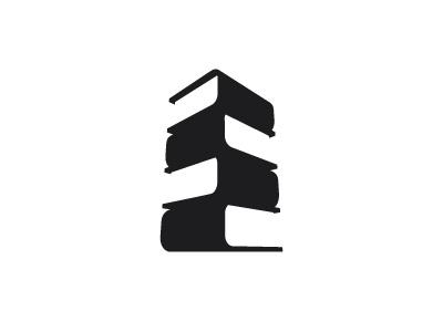 Book Tower Logo skyscraper negative space tall building tower 3d vector logomark mark logo