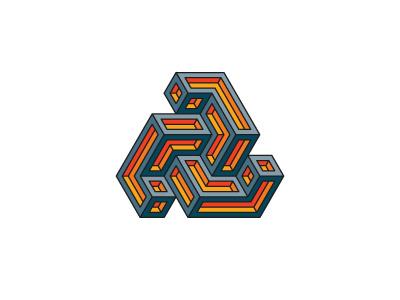 Aeviternal Logo triskelion triskele triangle mathematical symmetrical 3d geometric vector logomark mark logo
