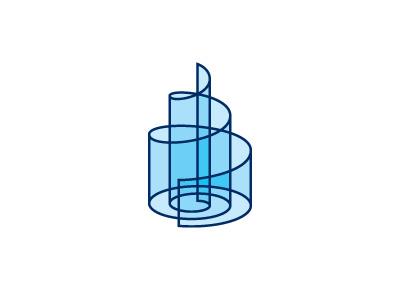 Hyaloid Logo cake building transparent blue glass structure architecture tower spiral 3d geometric design vector logomark mark logo