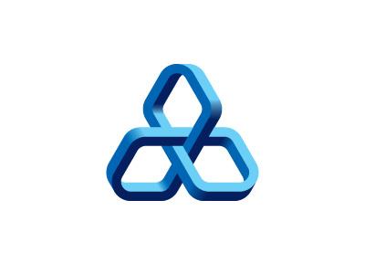 Trefoil Logo möbius moebius mobius loop triangle rounded network blue trefoil torus knot mathematical symmetrical 3d geometric vector mark logo