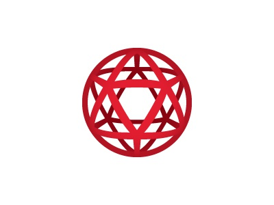 Ikosaeder Logo red polygon network icosahedron triangle globe orb sphere mathematical symmetrical vector 3d design geometric logomark mark logo
