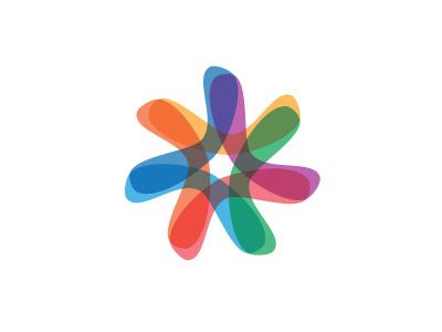Chromatin Logo intersecting colorful star soft semitransparent arc boomerang starfish organic symmetrical design vector logomark mark logo