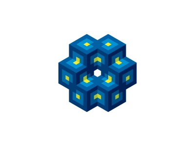 Intersecting Cubes Logo connected merge intersecting linked network symbiosis interconnected cube symmetrical 3d geometric vector logomark mark logo