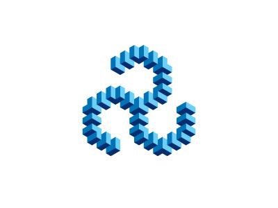 Geometric Triskelion Logo isometric triskelion triskele spiral impossible object illusion blue cube symmetrical 3d design geometric vector logomark mark logo