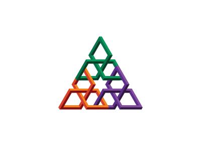 Dreieck Logo isometric linked connected torus knot triangle symmetrical 3d geometric vector logomark mark logo