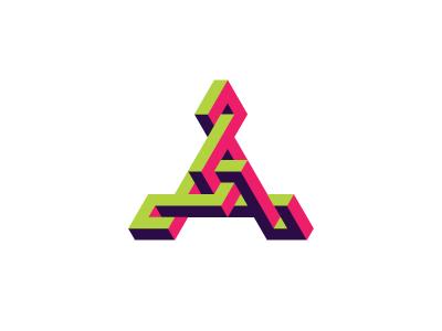 Herpetoid Logo structure intricate isometric triangle symmetrical design 3d geometric vector logomark mark logo