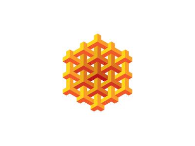 Hexamesh Logo structure mesh intersecting red orange yellow triangle hexagon mathematical symmetrical design 3d geometric vector logomark mark logo