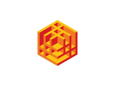 Pisciform Logo fish structure yellow orange red hexagon cube symmetrical design 3d geometric vector logomark mark logo
