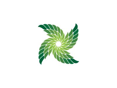 Ventufolium Logo nature pinwheel recycle ecological environment green leaves leaf renewal energy wind turbine symmetrical geometric vector logomark mark logo
